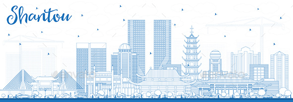 GraphicRiver Outline Shantou China Skyline with Blue Buildings 21055689