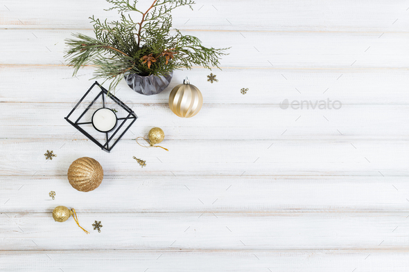Christmas tree and ball toy and cone on white wooden vintage background - Stock Photo - Images