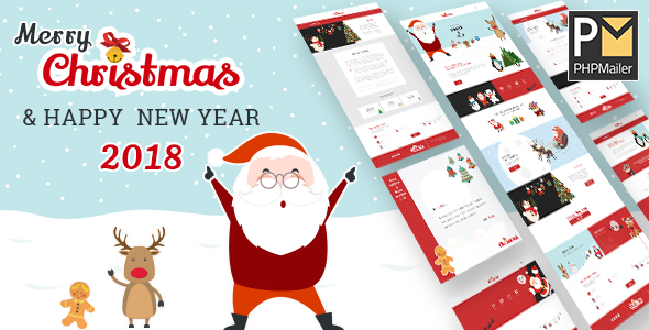 Christmas & 2018 New Year Party HTML Template With Wish Mailer - Specialty Pages Site Templates