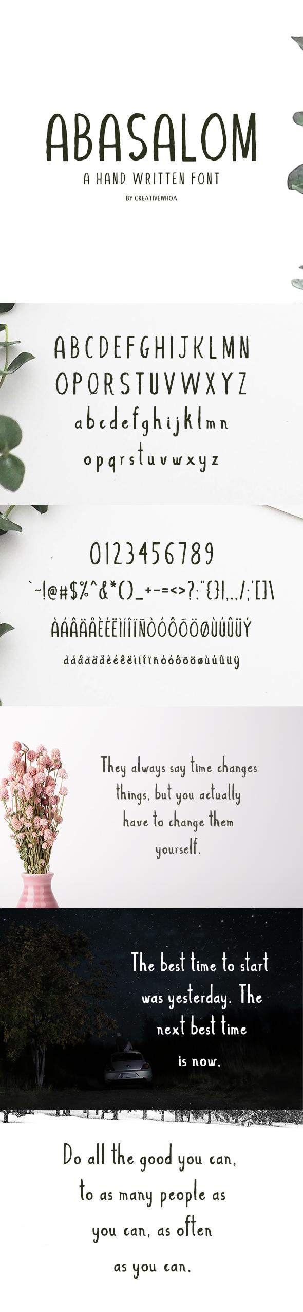 Abasalom A Handwritten Font - Hand-writing Script
