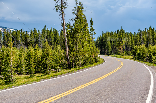 Highway in Yellowstone National Park - Stock Photo - Images