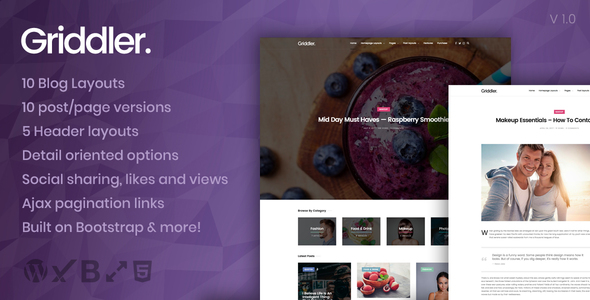 ThemeForest Griddler A slick Ajax loading grid based theme 20458255