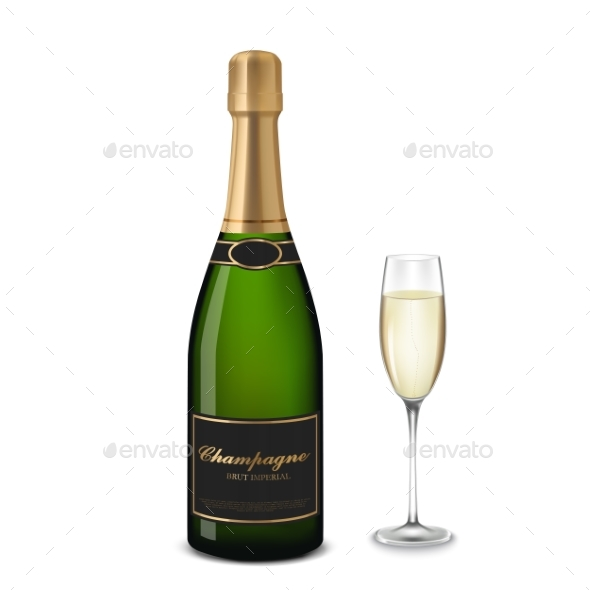 GraphicRiver Glass of Champagne and Bottle 21056641