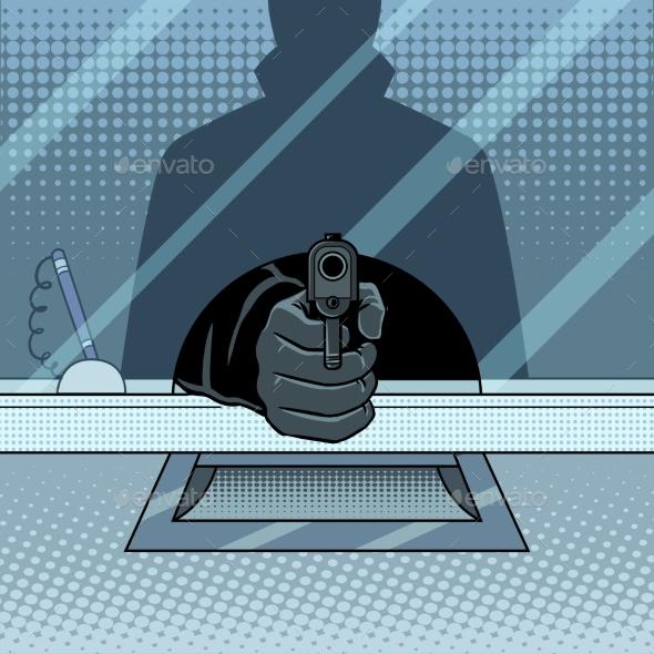Bank Robbery with Gun Pop Art Vector Illustration - Miscellaneous Conceptual