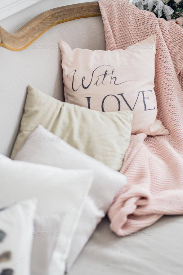 Love pink pillow interior living room decoration - Stock Photo - Images