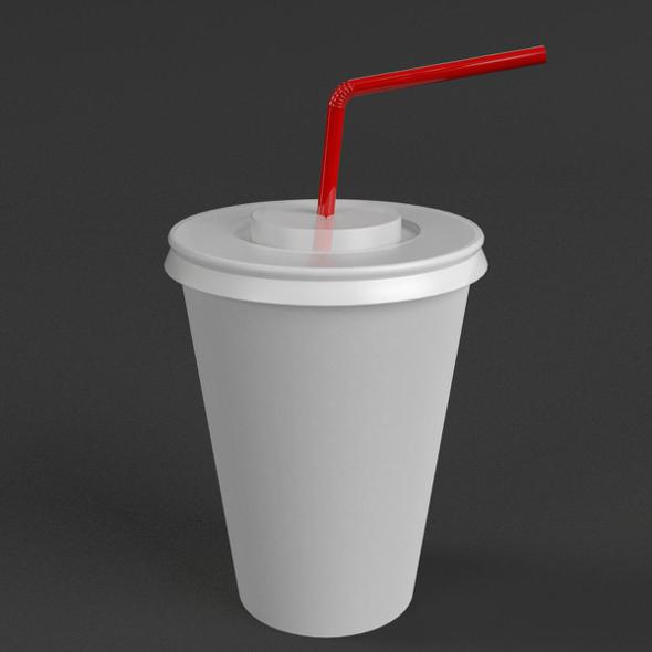 3DOcean Paper Cup with Straw 21057218