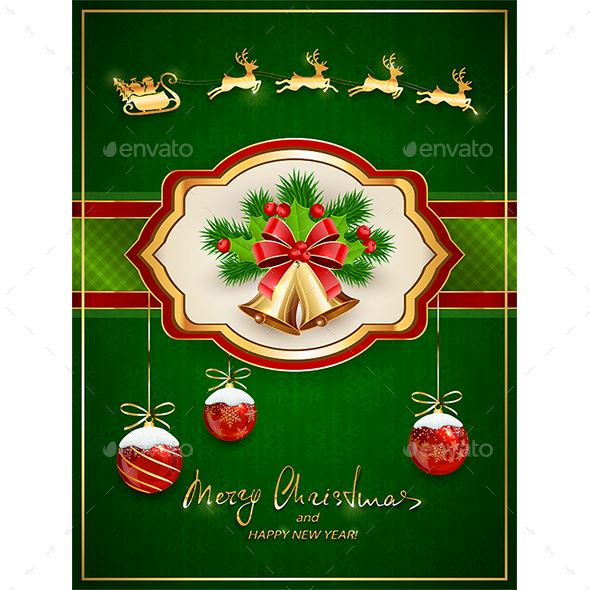 GraphicRiver Santa in Sleigh and Card with Christmas Bells 21057245