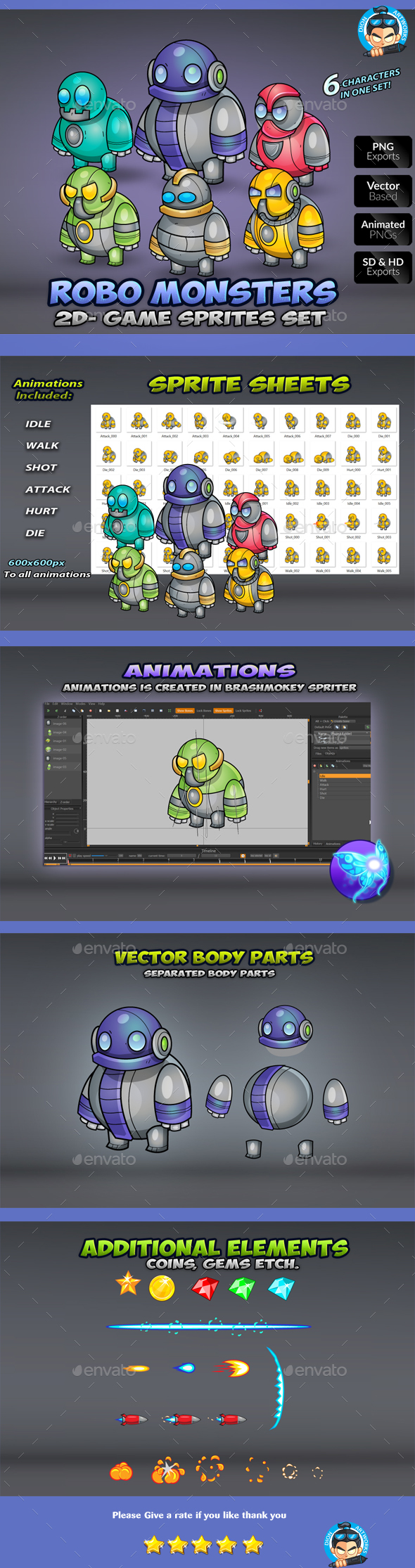 GraphicRiver Robo Monsters Game Enemies Sprites 21057250