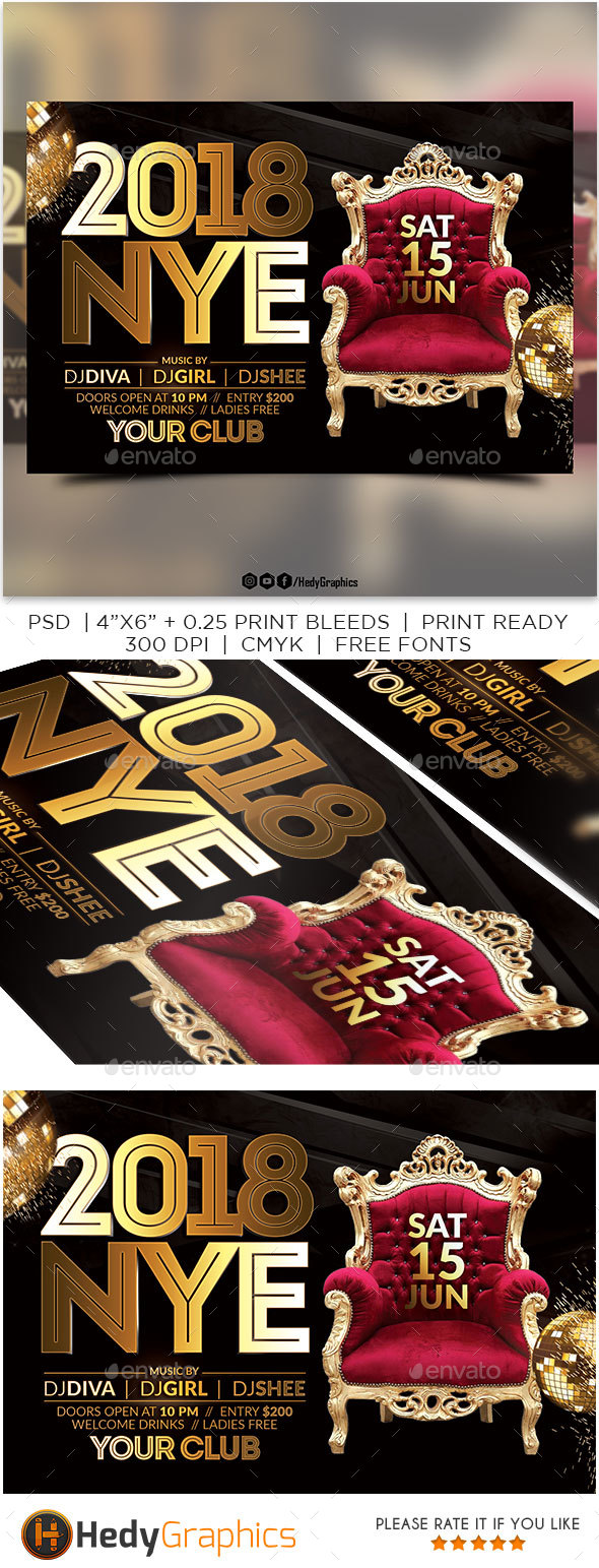 GraphicRiver 2018 NYE Flyer 21057269