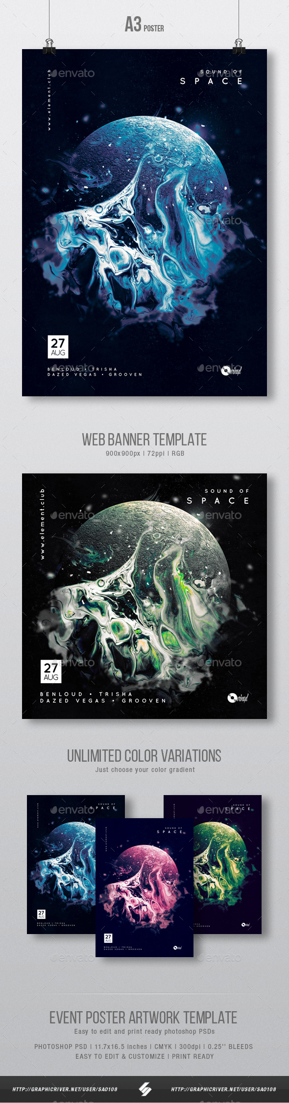 GraphicRiver Sound Of Space Progressive Party Flyer Poster Template A3 21057364