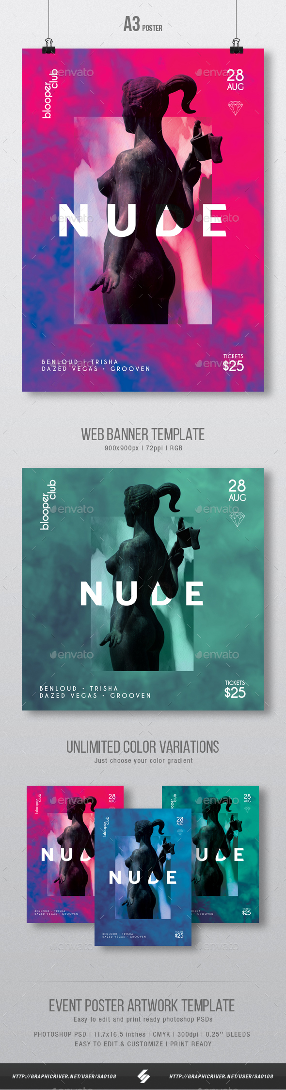 GraphicRiver Nude Creative Party Flyer Poster Artwork Template A3 21031552