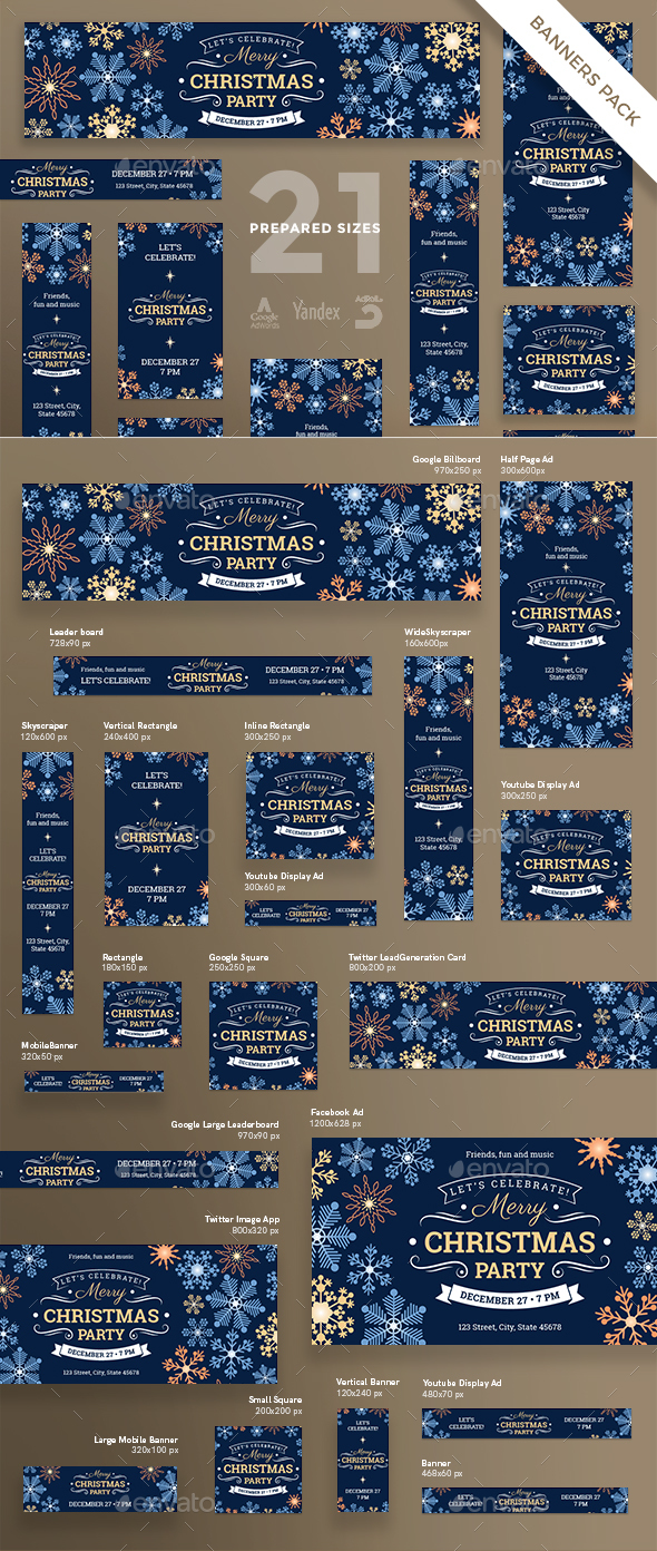 Merry Christmas Party Banner Pack - Banners & Ads Web Elements