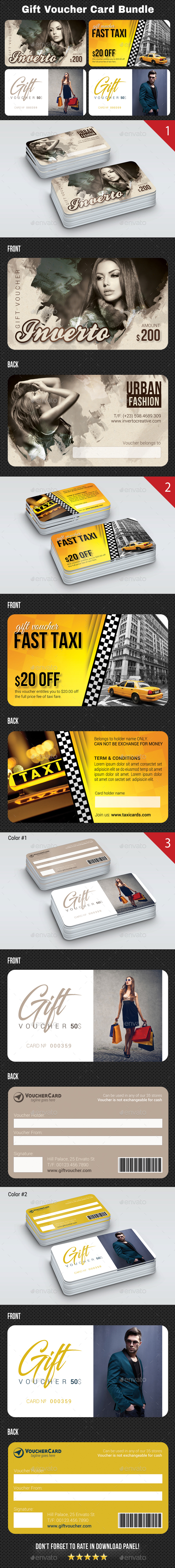 3 Gift Voucher Card Bundle 3 - Cards & Invites Print Templates