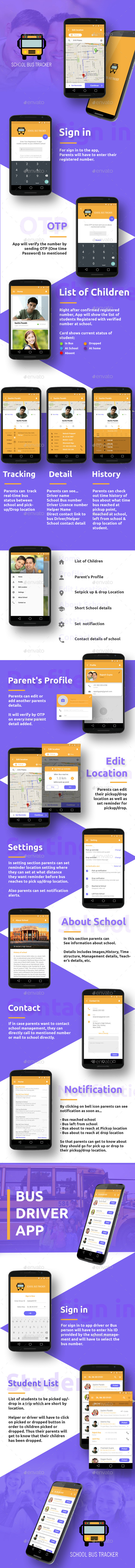 Bus Tracking Mobile App UI - User Interfaces Web Elements