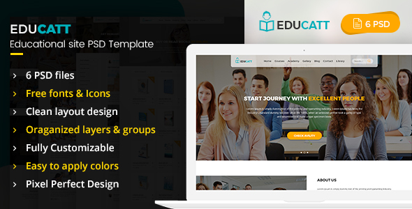 EduCatt - Educational Site PSD Template - PSD Templates
