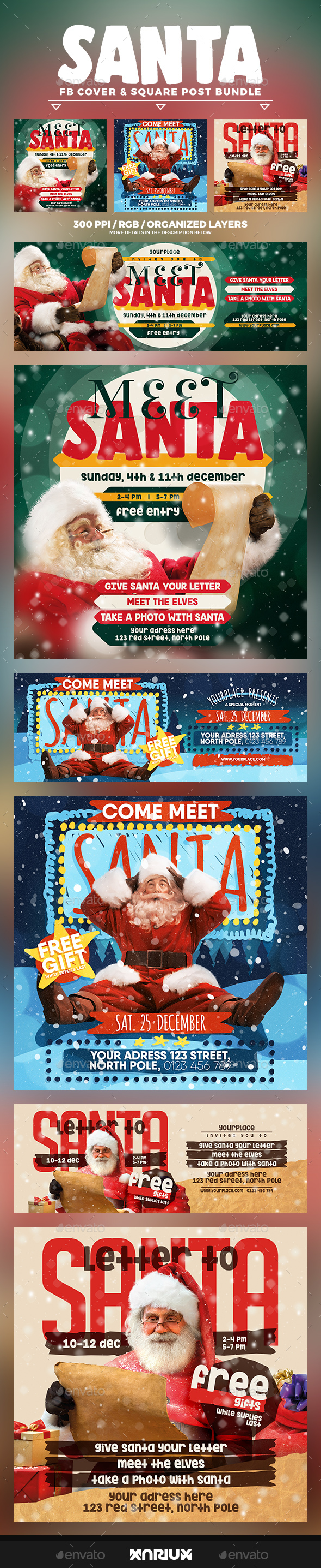Meet Santa Facebook Cover Bundle - Social Media Web Elements