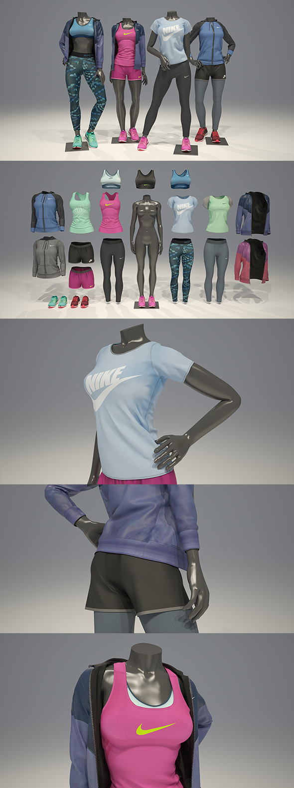 3DOcean Female mannequin Nike pack 2 3D model 21058574