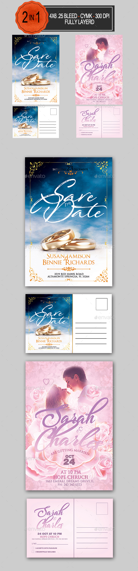 GraphicRiver Wedding Invitation Bundle 21058650