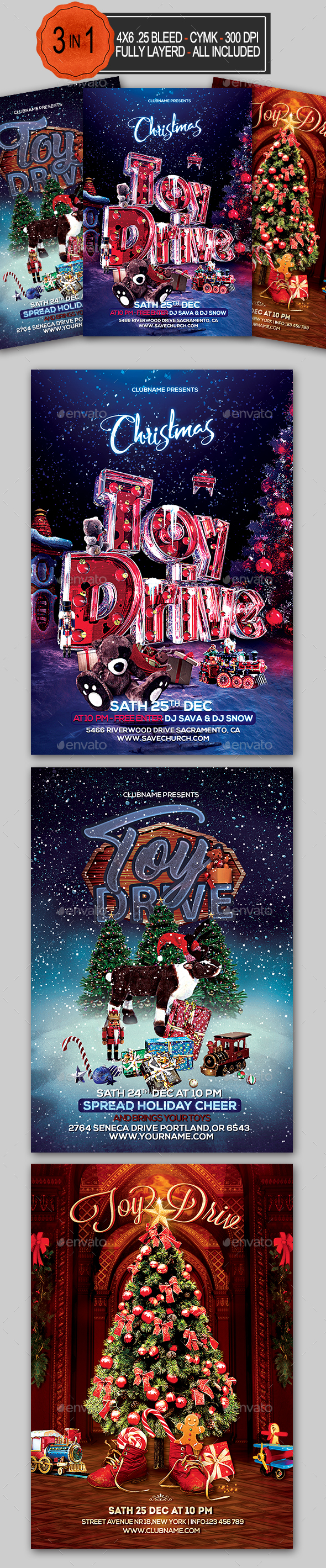 GraphicRiver Toy Drive Flyer Bundle 21058677