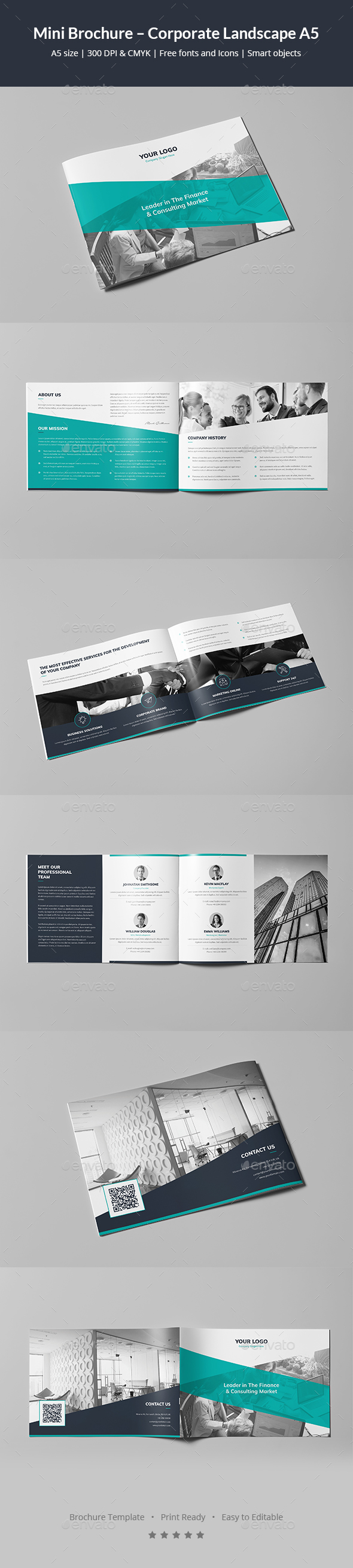 GraphicRiver Mini Brochure Corporate Landscape A5 21058758