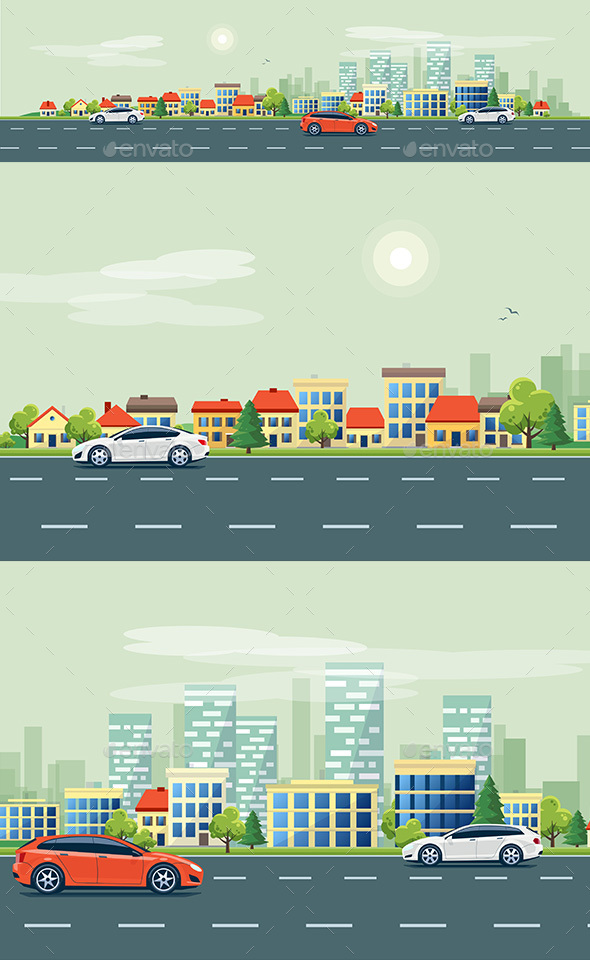 Urban Landscape Street Road with Cars and City Skyline Background - Buildings Objects