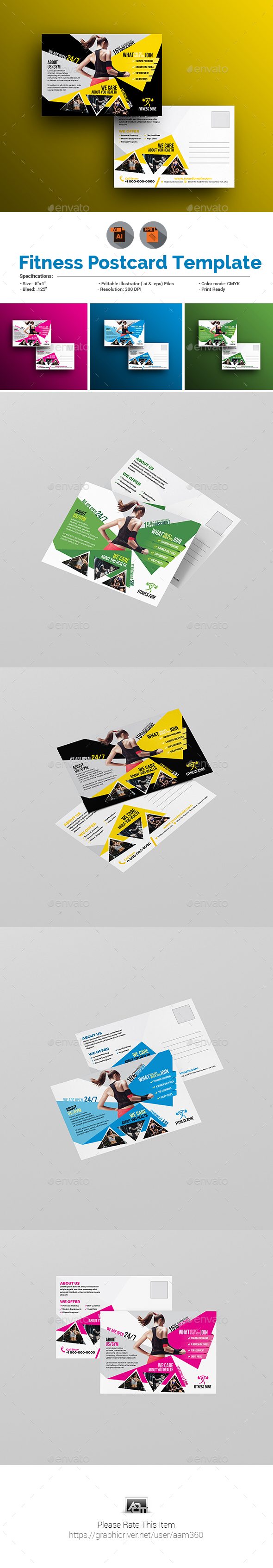 Fitness Postcard Template - Cards & Invites Print Templates