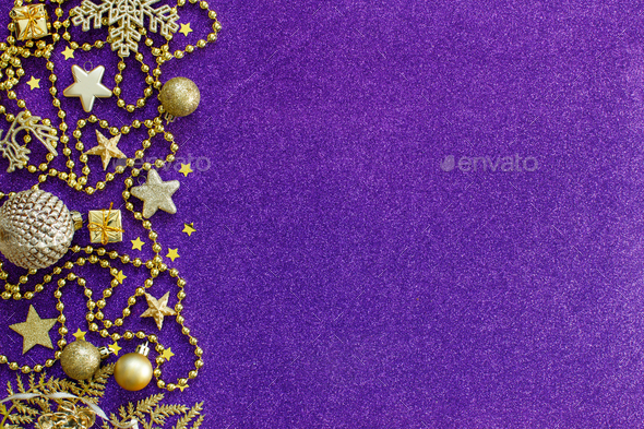 Purple and golden festive christmas decorations - Stock Photo - Images