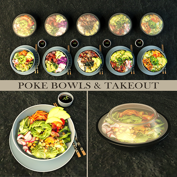 Poke bowl and take out - 3DOcean Item for Sale