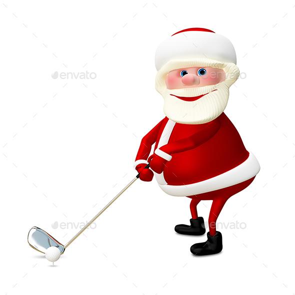 GraphicRiver 3D Illustration of Santa Claus Golfer 21059170