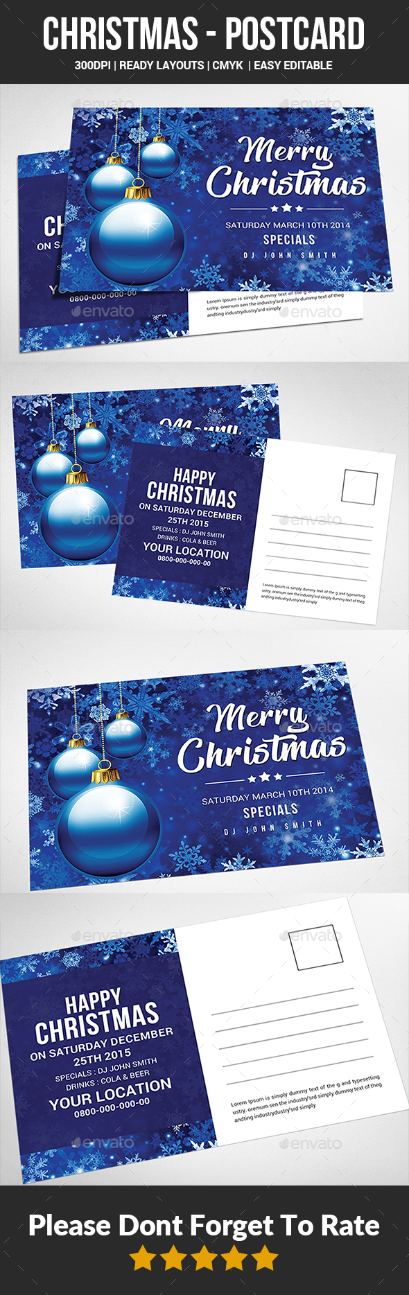 Christmas - Postcard Templates - Cards & Invites Print Templates