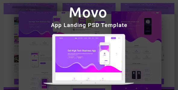 ThemeForest Movo App Landing PSD Template 21059276