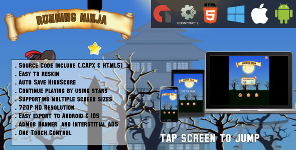 Download Running ninja - HTML5 Game - Android & IOS + AdMob (CAPX)