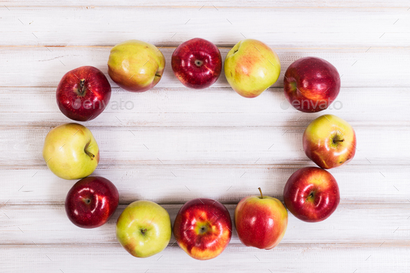 Sweet apples on wooden background - Stock Photo - Images