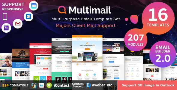 Multimail | Responsive Email Template with Template builder - Newsletters Email Templates