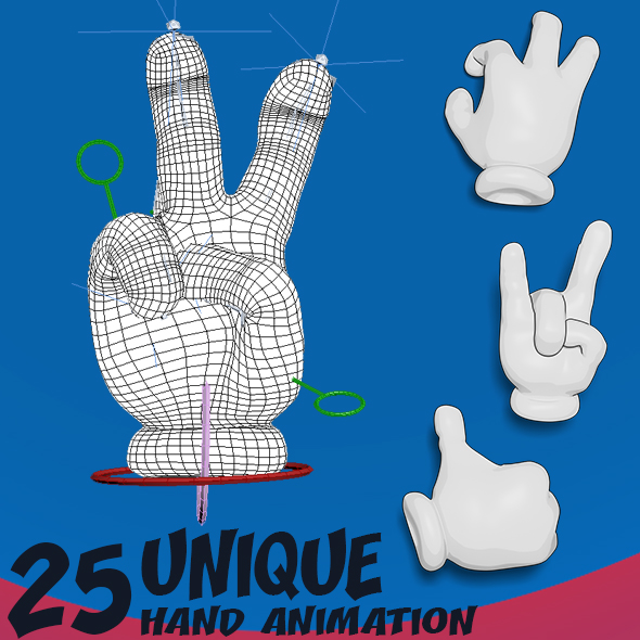 25 Cartoon Hand Animation - 3DOcean Item for Sale
