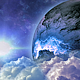 Abstract Clouds in Space with Planet and Shine Star  - VideoHive Item for Sale