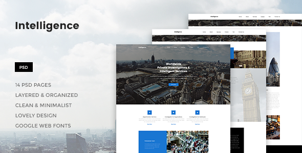 Intelligence - Individual & Corporate Investigations PSD Template - Corporate PSD Templates