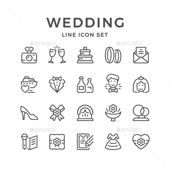GraphicRiver Set Line Icons of Wedding 21059687