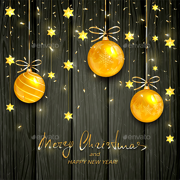 Gold Christmas Balls and Stars on Black Wooden Background - Christmas Seasons/Holidays