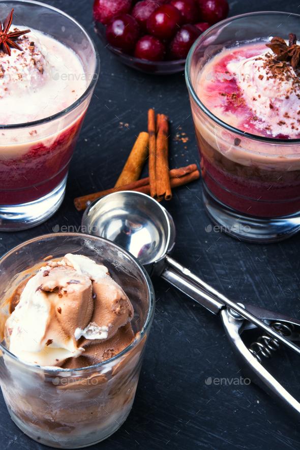 Vanilla cherry ice cream - Stock Photo - Images