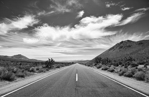 Black and white picture of the Death Valley desert road. - Stock Photo - Images
