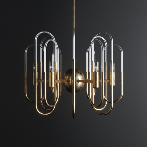 Gaetano Sciolari Brass Chandelier - 3DOcean Item for Sale