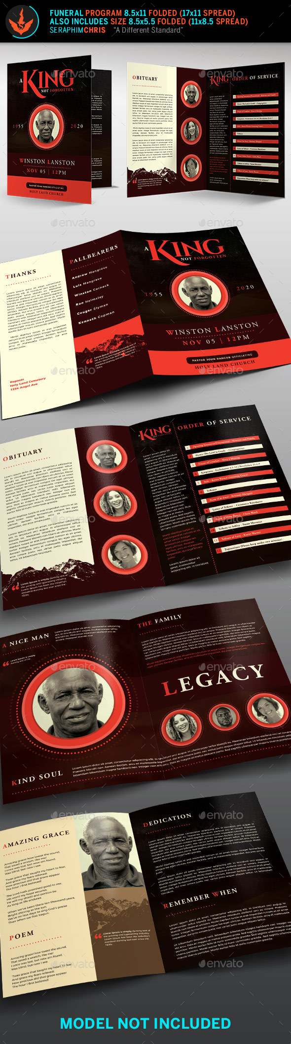 GraphicRiver King Funeral Program Template 21060605