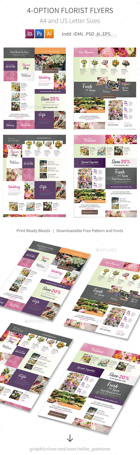 Florist Flyers 3 – 4 Options - Commerce Flyers