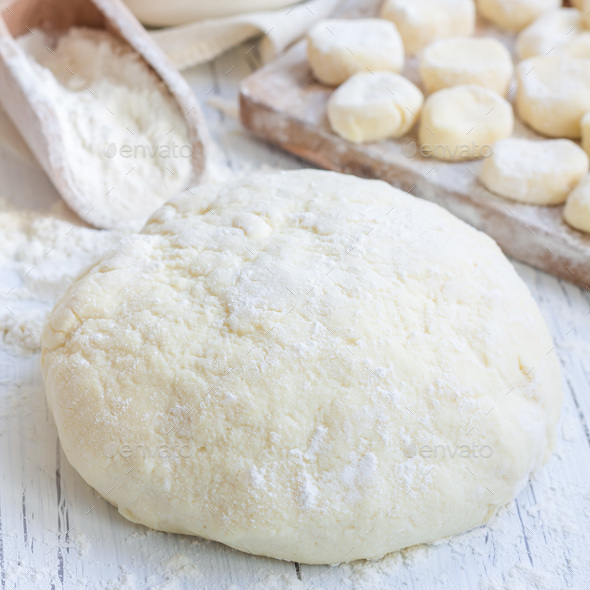 """Making traditional russian, ukrainian cottage cheese """"lazy"""" dumplings, square - Stock Photo - Images"""