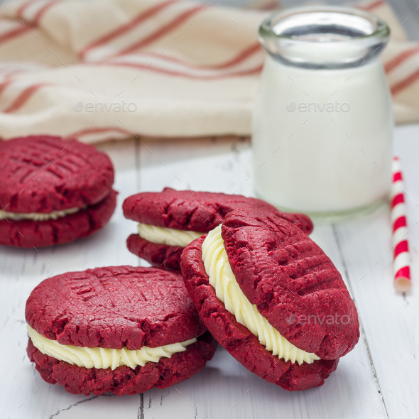 Red velvet sandwich cookies with cream cheese filling, square - Stock Photo - Images