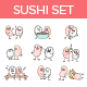 Sushi and Rice Stickers - GraphicRiver Item for Sale