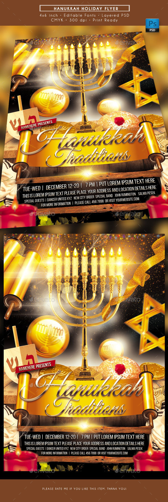 GraphicRiver Hanukkah Holiday Tradition Flyer 21061227