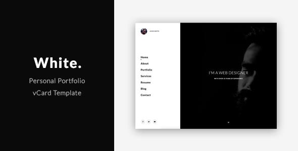 White - Personal Portfolio / vCard Template