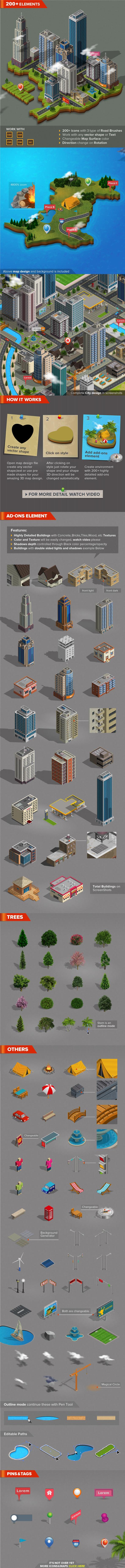 3D City and Map Generator - Styles Illustrator